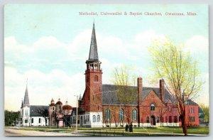 Owatonna Minnesota~Methodist-Universalist-Baptist Churches~Folk on Sidewalk~1910