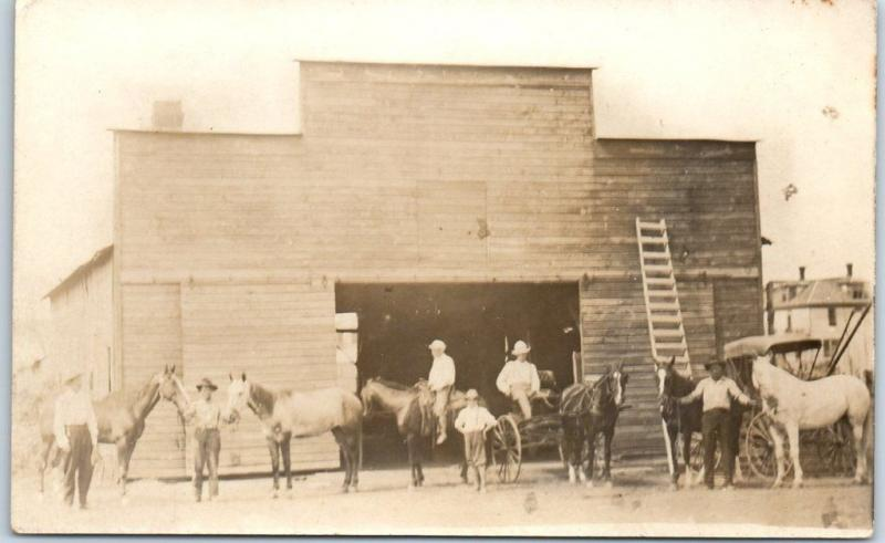 Vintage RPPC Real Photo Postcard Livery Stable Scene Men Horses c1910s Unused