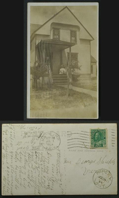 Moose Jaw Sask private house Stadacona St RRPC pmk 1914