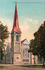 Stockton California~Central M E Church~1910 Postcard