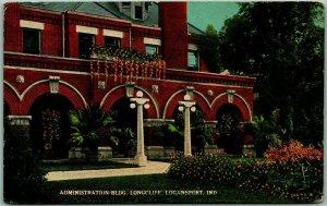 Logansport, Indiana Postcard Admin Bldg, LONGCLIFF State Hospital Kropp c1910s