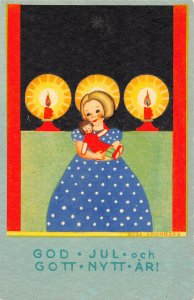 LP68  Postcard New Year's Gott Nytt Ar Child Doll Boel Croberg Artist Signed