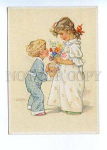 141917 Kids w/ Flowers BIRTHDAY by HAUSEN vintage Colorful PC