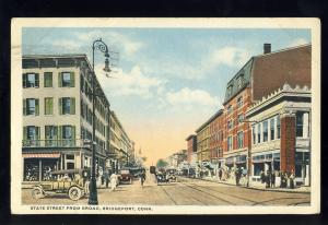 Bridgeport, Connecticut/CT/Conn Postcard, State Street From Broad, 1917!