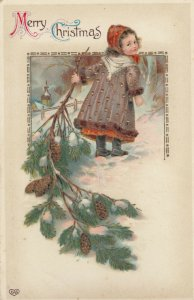 CHRISTMAS; 1900-10s; Merry Christmas, Girl dragging a pine branch in snow