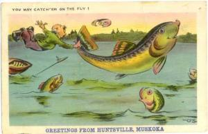 Fish Exaggeration Greetings from Huntsville, Muskoka, Ontario, ON,  19?? W/B