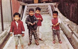 Vintage Postcard, Typical Child Refugees outside Peace Clinic, Hong Kong 25Q