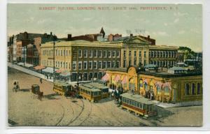 Streetcars Market Square Providence Rhode Island 1907 postcard