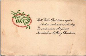 Antique Postcard- A Merry Christmas And Red Cross 1911 Stamp