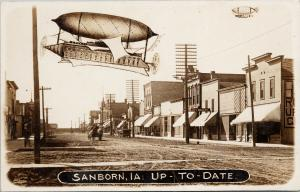 Sanborn IA Iowa Street Scene City Bakery Blimp c1912 Real Photo Postcard E53