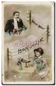 Old Postcard Fancy Phone Woman