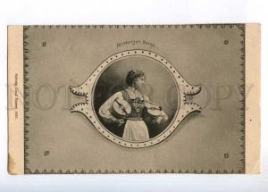 236284 NORWAY NORGE Hardanger girl Lund 1901 year postcard