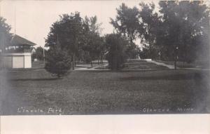 GLENCOE MINNESOTA~LINCOLN PARK~BANDSTAND?  GAZEBO?~REAL PHOTO POSTCARD 1907 PMK