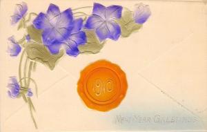 New Year~Number 1910~Orange Wax Envelope Seal~Purple Flowers~Airbrushed~Emboss