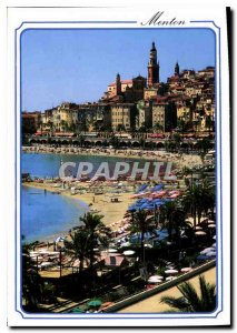Modern Postcard The French Riviera Menton Perie of France Beach and the old town