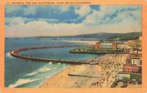 Postcard Rainbow Pier Auditorium Long Beach California