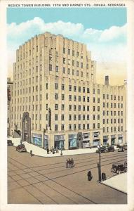 Omaha Nebraska~Redick Tower Building @ 15th & Harney Streets~People & Cars~1920s