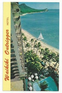 WAIKIKI BEACH, Honolulu, Hawaii, 1940-60s; Outrigger Hotel, Swimming Pool