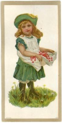 Vintage Greeting Card, GIRL, GREEN DRESS, CHERRIES