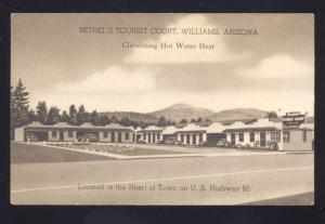 WILLIAMS ARIZONA ROUTE 66 BETHEL'S TOURIST COURT LINEN ADVERTISING POSTCARD