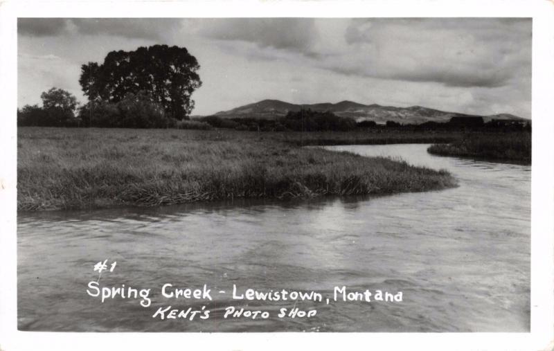 LEWISTOWN MONTANA SPRING CREEK KENT'S PHOTO SHOP REAL PHOTO POSTCARD c1968