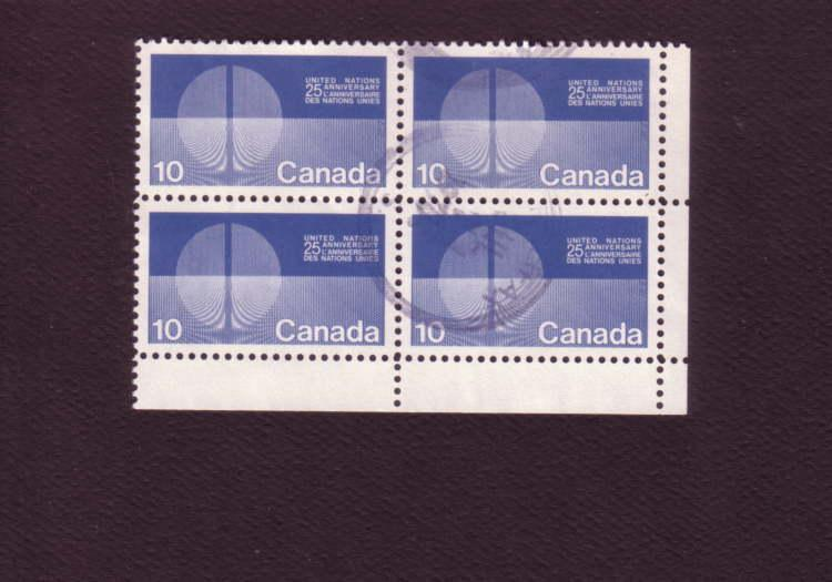 Canada, Used Corner Block of Four, United Nations 25th Anniversary, 10 Cent, ...