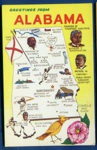 Map of Alabama al Black Americana Carver Hank Aaron old postcard