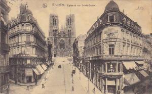 Belgium Brussels Eglise et rue Sainte Gudule