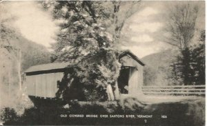 Vintage Black and White Photograph Old Covered Bridge over Saxtons River Vermont