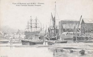 View of Harbour & HMS Victory - Portsmouth, England - Drawing - Unused