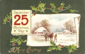 Snow scene. Man with his horses Old vintage English Greetings Postcard