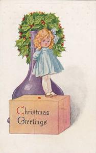 Christmas Greetings, Girl standing on box, Wreath of hollies, Large purple va...