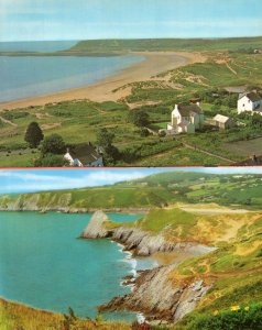 Pobbles Bay Port Enyon Gower Wales 2x 1970s Postcard s