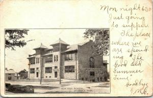Hillsdale Michigan~New High School~Where We Are Spending Summer~1906 B&W PC