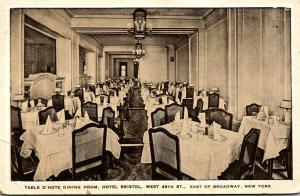 New York City Hotel Bristol Table D'Hote Dining Room 1932