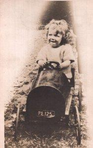 Child in Toy Railway Train Antique Tottenham London Postcard