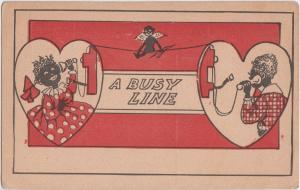 BLACK AMERICANA Postcard c1910 A BUSY LINE Telephone Call Girl Dress B69