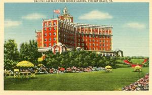VA - Virginia Beach, The Cavalier Hotel from Sunken Garden
