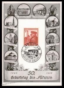 3rd Reich Germany Muenchen Hitler Milestones 50th Birthday Propaganda Card 90576