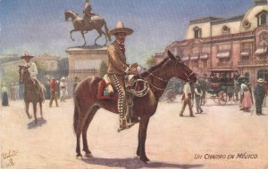 Mexican Life. Un Charro en Mejico. Horses  Tuck Oilette PC # 9628