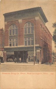 F41/ New Lexington Ohio Postcard c1910 Sheeran Drug Store Block