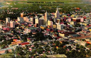 Oklahoma Tulsa Aerial View Of The Oil Capitol Of The World