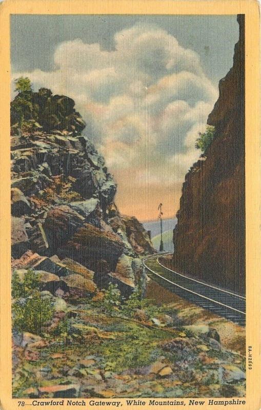 New Hampshire~RR Tracks~Gateway of Historic Crawford Notch~White Mountain~1946
