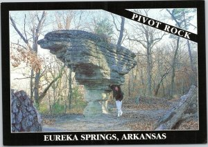 postcard Arkansas - Pivot Rock, Eureka Springs, Arkansas - woman in 1980s outfit
