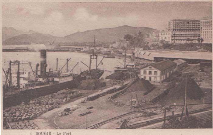 Harbour Port Ship Docks Bougie Algeria Antique Algerian Mediterranean Postcard