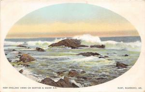 Scarboro ME~Ocean Surf Crashing on Rocks~c1905 Boston & Maine Railroad Postcard