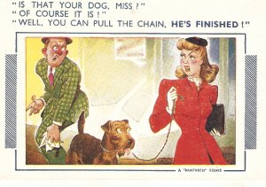 Is that yur dog, Miss?. Of course it i. Bamforth Comic Series postcard No. 451