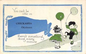 Something Doing Every Minute in Chickasha Oklahoma~Kids~Balloons~1916 Pennant