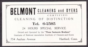 Belmont Cleaners and Dyers blotter – Hartford CT – Three Santuccio Brothers