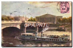 Old Postcard Paris Concorde Bridge Boat Peniche